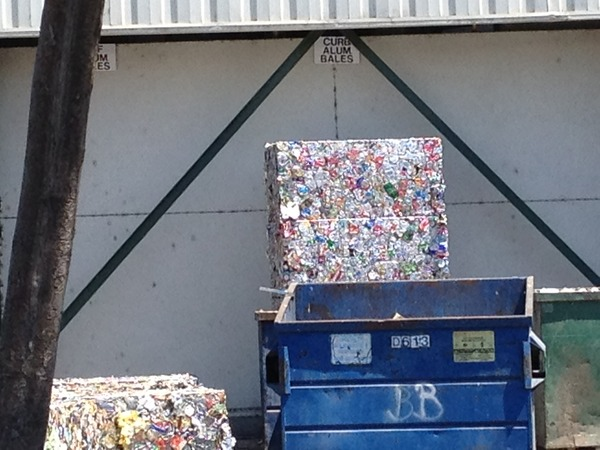 Cans crushed and neatly stacked - Sunnyvale SMART Recycling Center