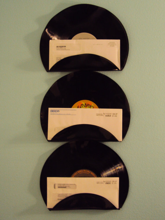 Repurposed Upcycled Vinyl Record Mail Holders
