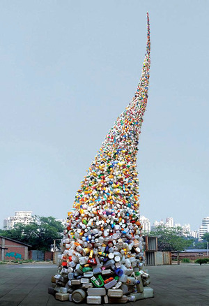 Thrown to the Wind -  tornado of plastic waste