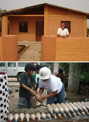 Ingrid Vaca Diez of Bolivia makes houses using recycled plastic bottles filled with dirt