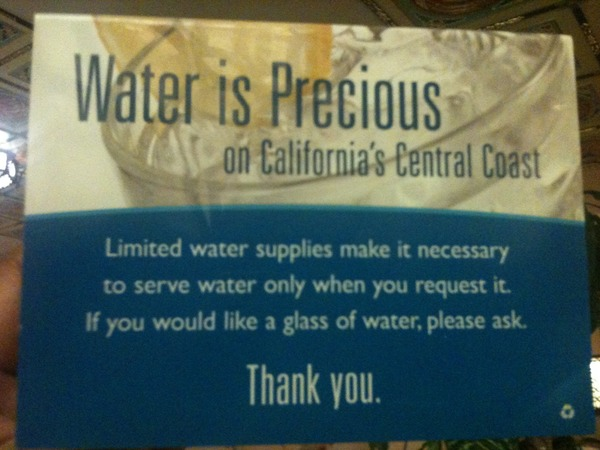 Liked how this restaurant saves water