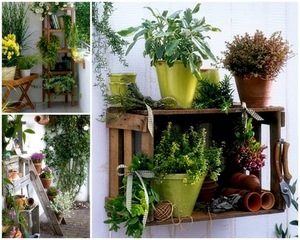 Simple pallet storage for herbs by WABI SABI Scandinavia