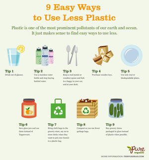 9 Easy Ways to Use Less Plastic [Infographic] | via Pure Bar