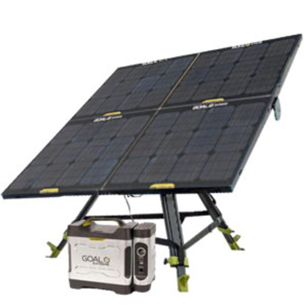 Great for outdoors: Solar Kit with a 350 Watt Battery charged with Solar Panels