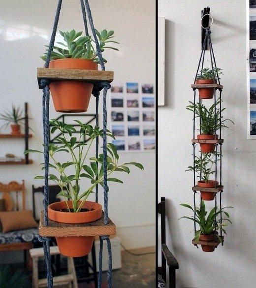 Creative DIY Gardening Idea: Pots Hanger via thelovelyplants