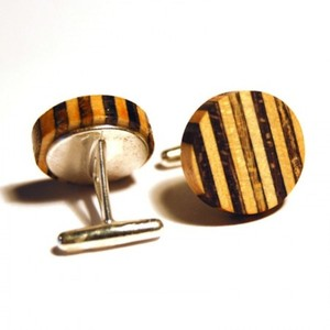 Recycled Skateboard Strata Cuff Links - Sterling