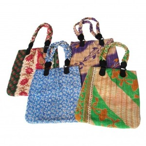 Fair Trade Recycled Kantha Pleated Tote Bag | Greenheart Eco Accessories