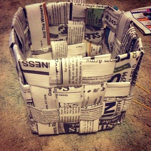 Made a basket out of newspaper! #basket #newspaper #recycle #crafts