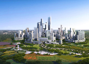 """A """"car free"""", high density city for 80,000 people near Chengdu, China."""