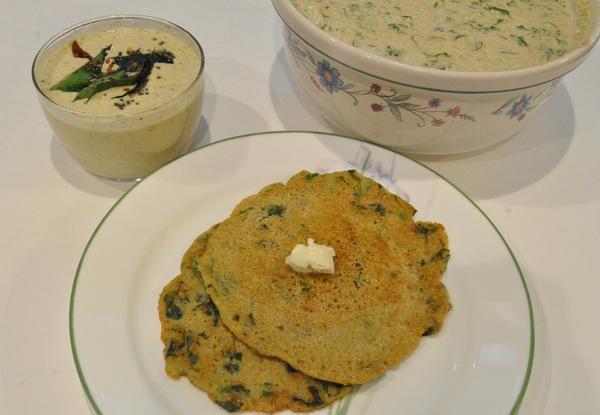 Spinach Adai (Pancake) Made With Lentils & Barley