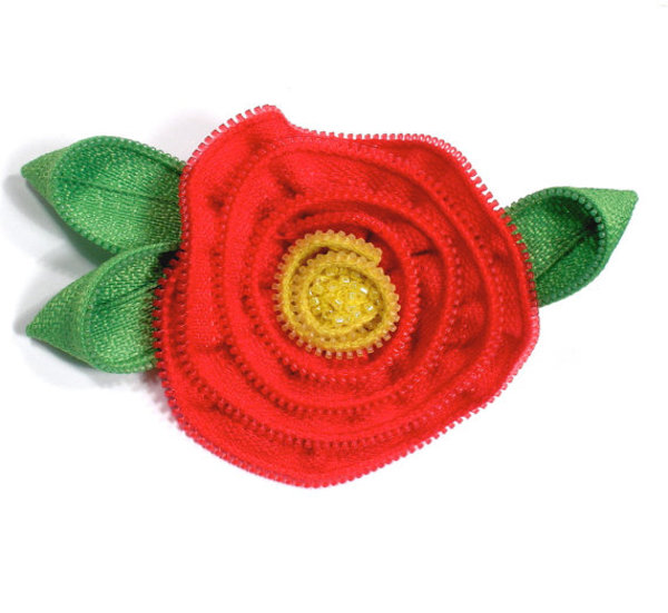 Zipper Brooch / Pin Red Flower with Green Leaves and Beaded Center #upcyled