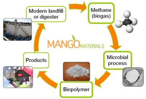 Biodegradable plastics from waste biogas (methane)