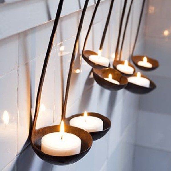 use soup ladles for candle holders in the kitchen diywednesday - Diy Kitchen Decor