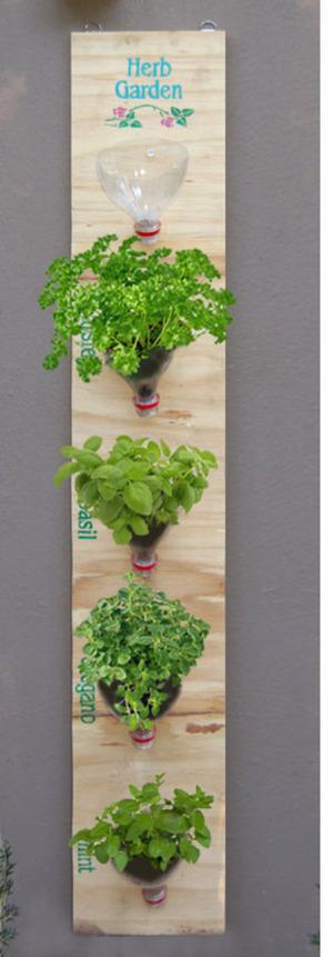 Hanging herb garden | Home-Dzine #bottle #reuse #garden #herbs