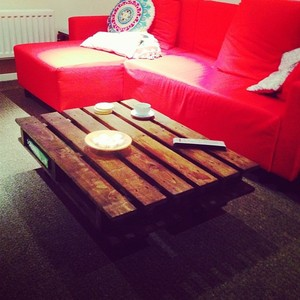 Up-cycled pallets made into a coffee table #upcycle #thrift #diy