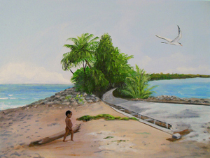 Gone by 2050 - The Island of Funafuti  by Janet Glatz eco artist
