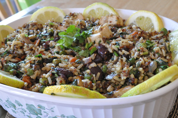 Mixed vegetables with organic brown rice and red quinoa