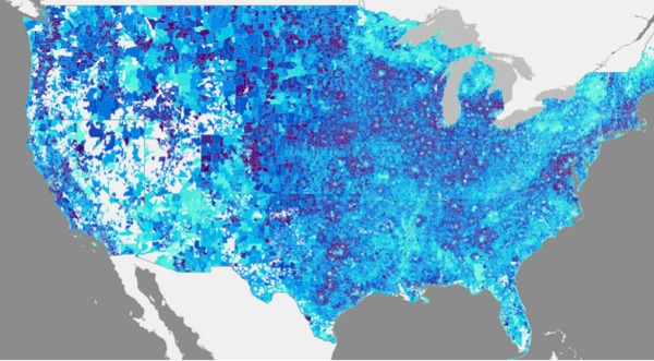 Map shows ave. vehicle miles traveled by US households