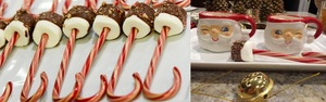 Hot Cocoa with Candy Canes and Chocolate dipped Marshmallows for kids