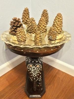 Glittery Pine-cones on Silver