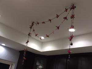 Handmade birds and bells hangings