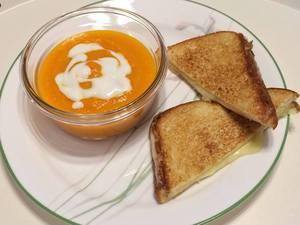 Homemade Carrot Soup with Grilled Cheese Sandwich