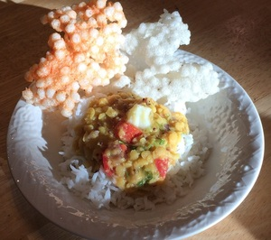 Dal Rice with Homemade Sago Fryums