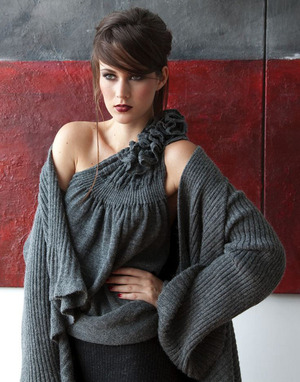 Ruffled One Shoulder Top in Luxurious Blend of Baby Alpaca & Merino Wool