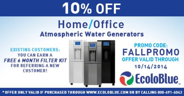 Take 10% Off EcoloBlue Atmospheric Water Generators
