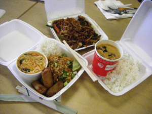 Not sustainable - Styrofoam containers for takeout food at restaurants