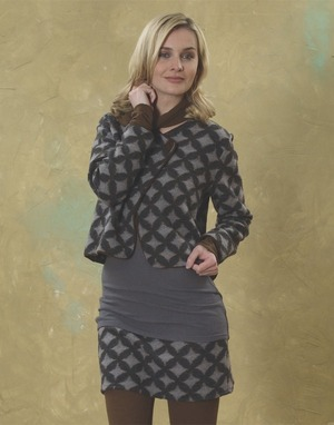 Cutaway Virgin Wool Jacket and Mini Skirt - Sustainably Elegant!