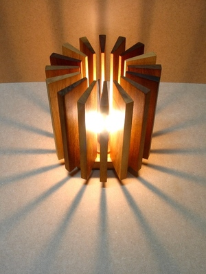 Lamp made with wood pieces recovered from a Carpenter's shop