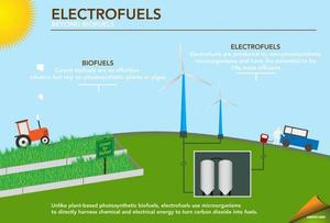 Electrofuels from a new form of photosynthesis may be 10x more efficient than biofuels