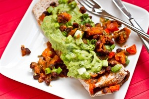 Vegan Enchiladas with Cilantro Avocado Cream Sauce
