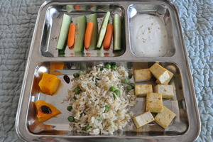 Plates with compartments are a fun way to display a variety of food
