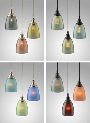 Transforming recycled bottle glass into exquisite lamps and lighting fixtures