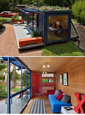 Recycled, sustainable shipping container studio or guest house