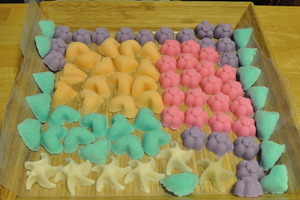 Colorful sugar moulds as party favors