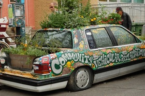 now that is true sustainability - gardening in your car