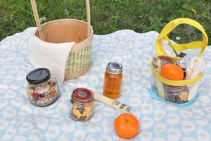 Pre pack a fun snack reusing baskets and bags