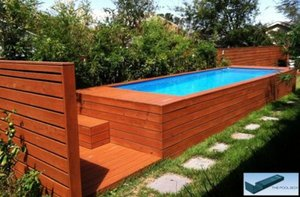 Dumpster Converted into Deluxe Backyard Pool