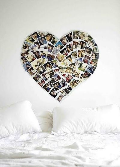 Heart shaped photo collage for the wall - no frames