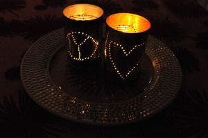 Valentines day lanterns made out of empty cans