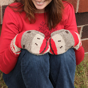 Recycled USA-made Sock Monkey Mittens