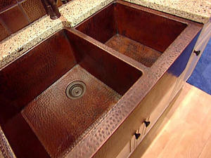 copper sink made from recycled wires and tubes