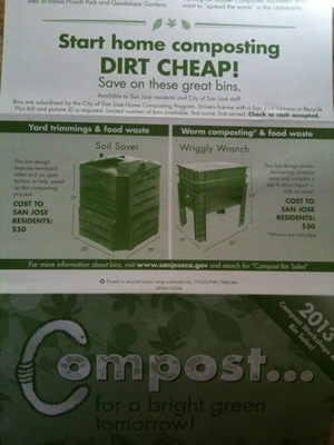 Compost bin incentives by San Jose City, CA