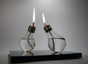 light bulbs reused as candles!  neat!