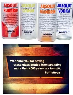 BOTTLEHOOD @BottleHood - creations from reclaimed, repurposed, reused glass bottles