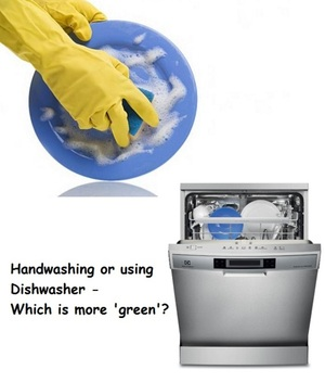What's more green - using dishwasher or hand washing dishes